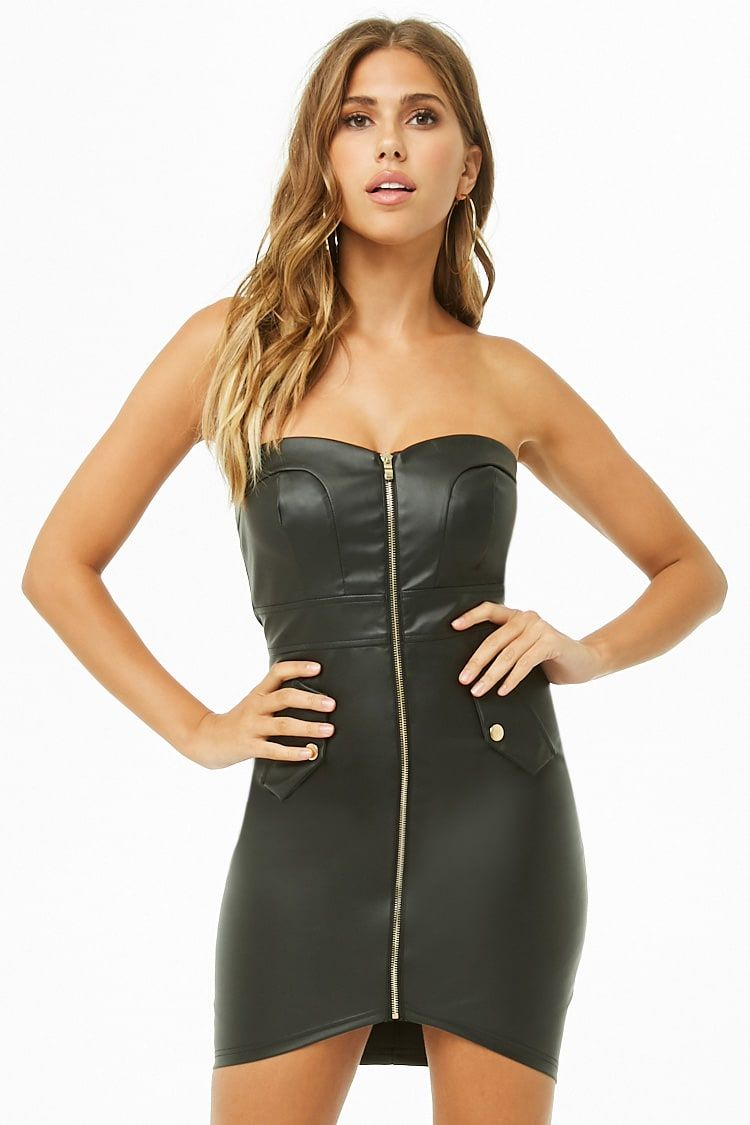 ba73b908ed6 Faux Leather Zip-Front Tube Dress