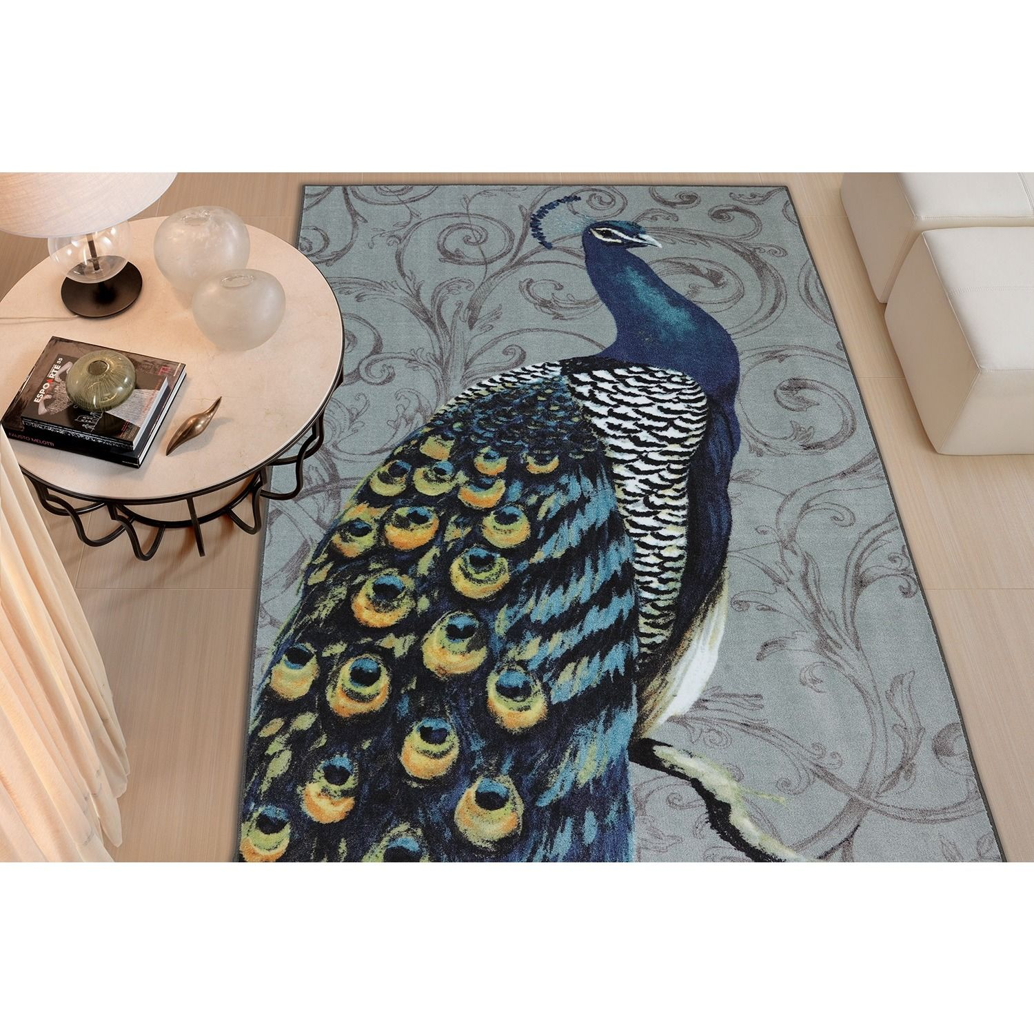 Mohawk Home New Wave Peacock Feathers Multi (5' x 8') (11941 416 060096), Blue, Size 5' x 8' (Nylon, Animal)
