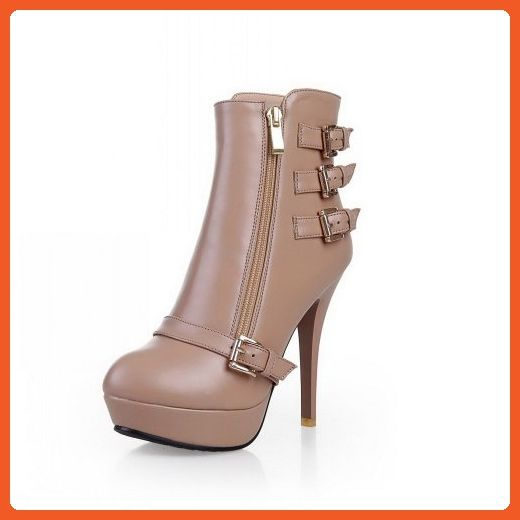 Women's Frosted Round Closed Toe High Heels Lace Up Solid Boots Apricot 37