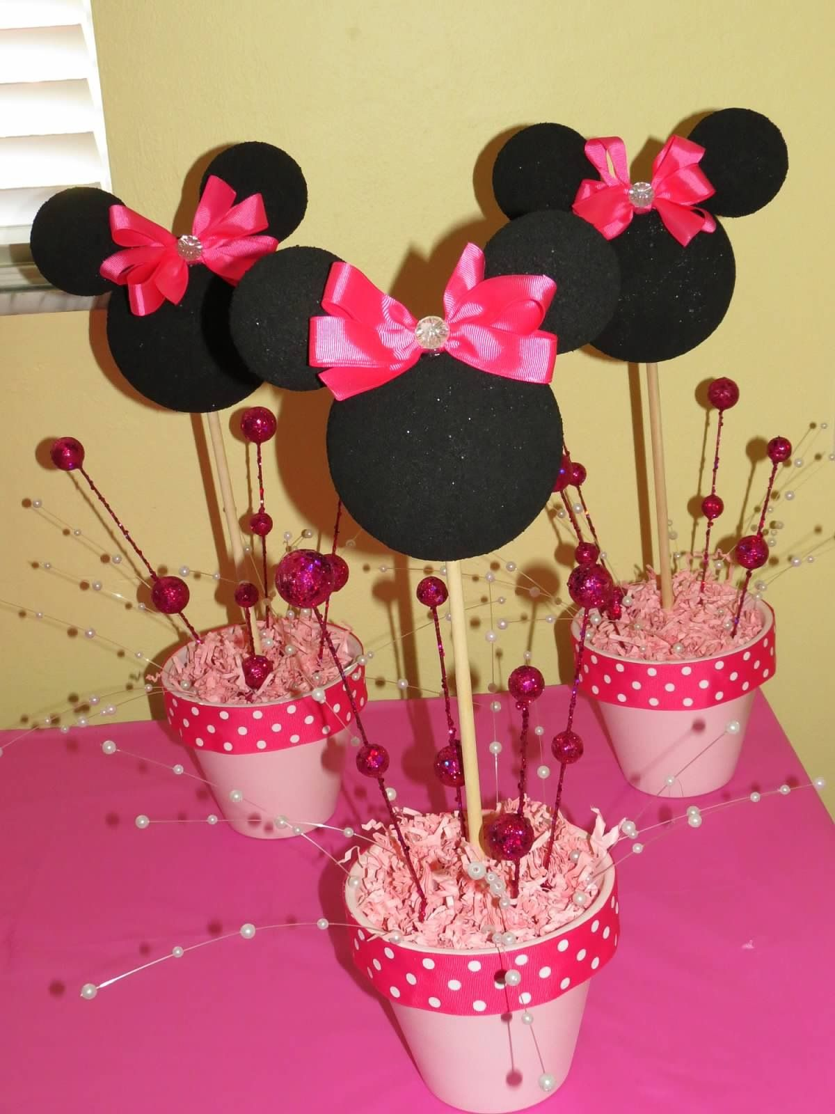 Minnie Mouse centerpieces for my Princess' 1st birthday