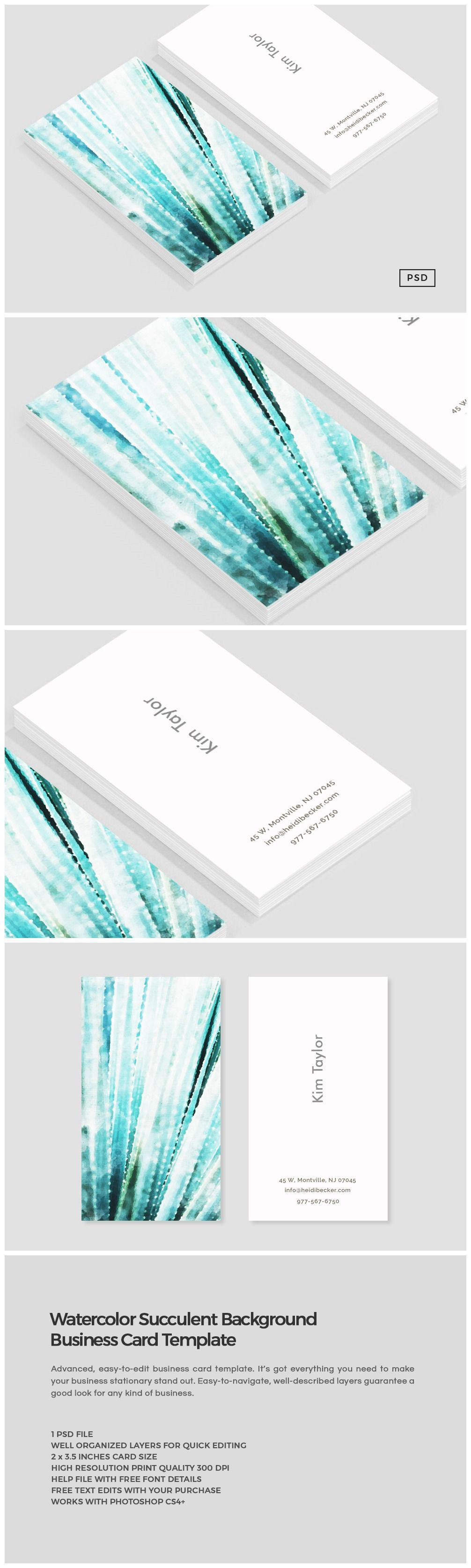 Watercolor Succulent Business Card Business Cards Watercolor Watercolor Business Cards Photography Business Cards
