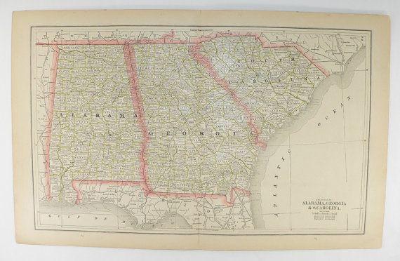 Map Of Florida Georgia South Carolina.Southern States Map 1886 Vintage Map Georgia South Carolina Map