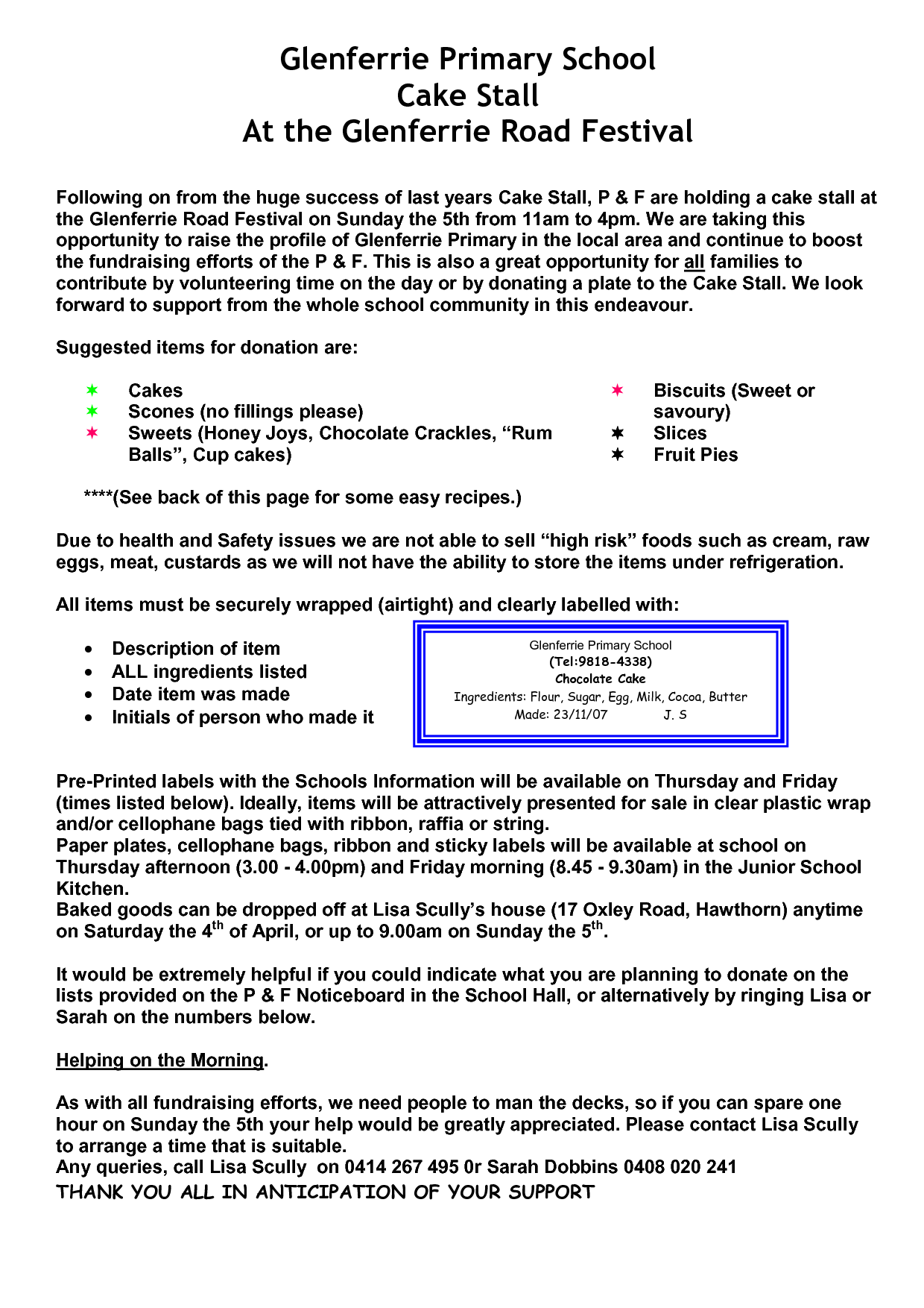 good doc for cake stall letter to go home to parents | cake stall ...