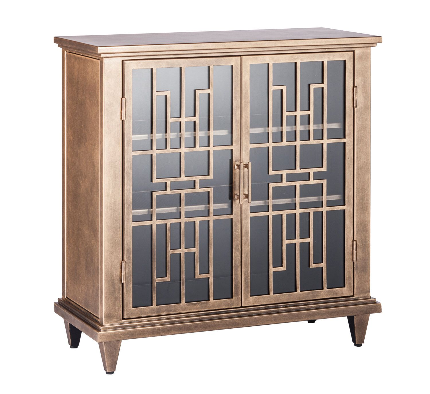 Buffet Sideboard Cabinet Storage Iron Glass Brass Colour by