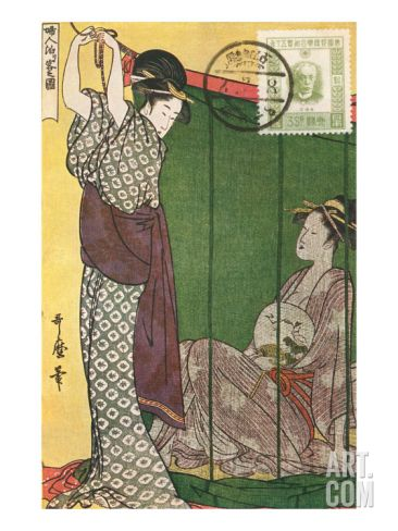 Japanese Illustration, Two Geishas Giclee Print at Art.com