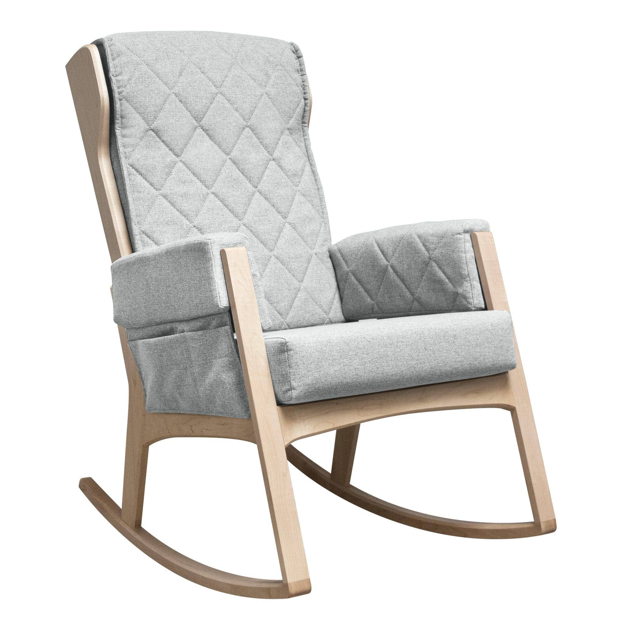 Chaise Bercante Bois Naturel Et Tissu Gris 5309 Dutailier Clement Rocking Chair Chair Cushions