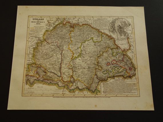 hungary old map of hungary and transylvania 1849 by vintageoldmaps