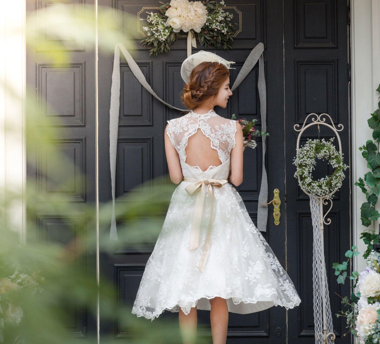 Margaret vintage short lace keyhole wedding dress with champagne