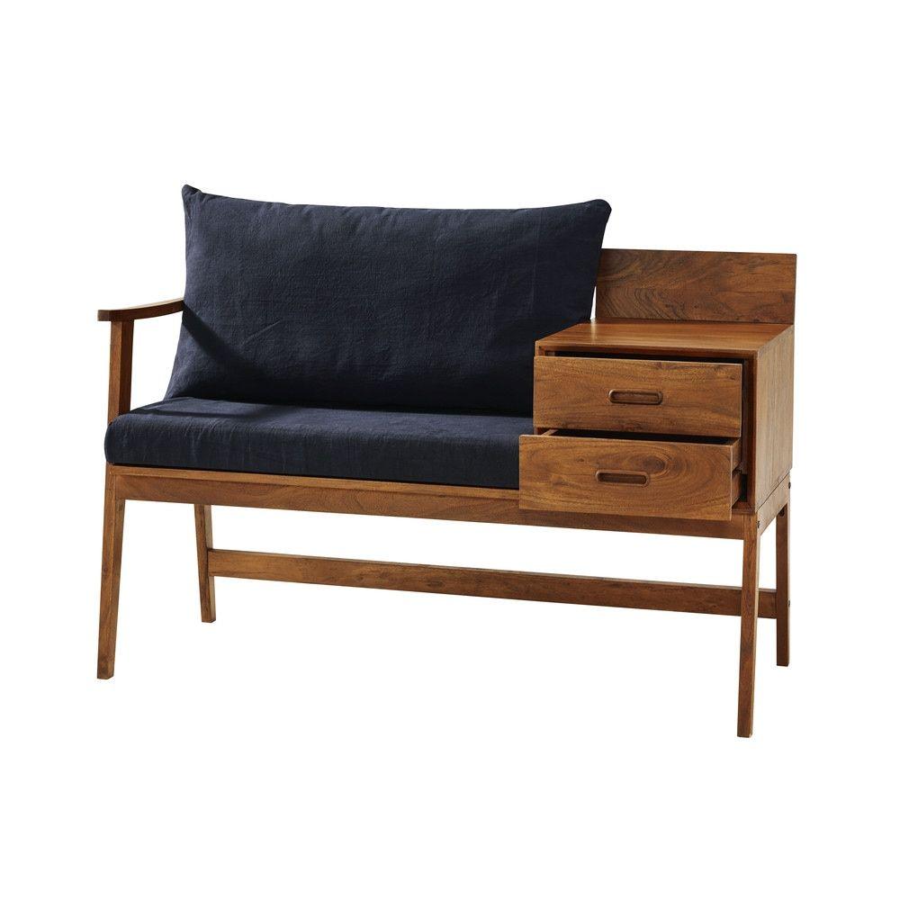 Vintage Dielenbank Mit 2 Schubladen Massives Akazienholz Maisons Du Monde Furniture Retro Furniture Home Decor Furniture