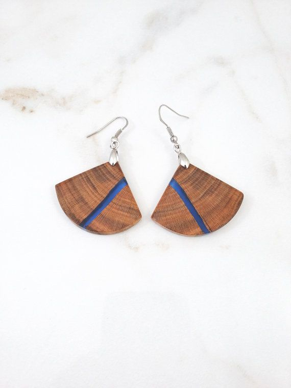 b137c7887 Reclaimed wood and blue resin earrings. Epoxy and wood jewelry. Handmade  jewelry by WoodAllGood. #WoodAllGood