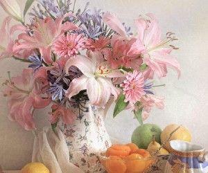 natures mortes, image, fleurs, rose