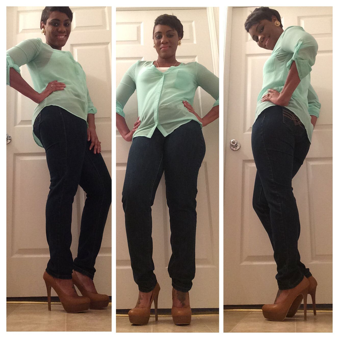 Blouse: JC Penney  Jeans: Body Central  Shoes: Ebay  Necklace: Gifted Earrings: my moms jewelry box