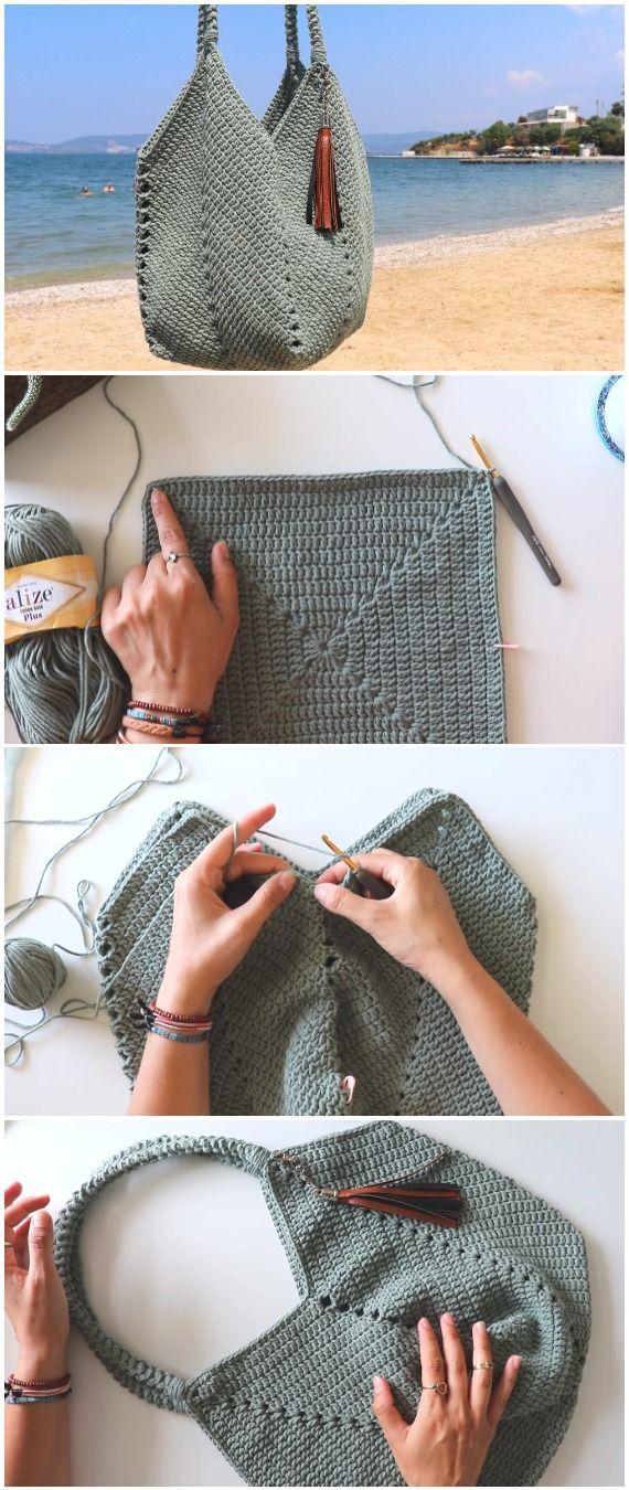 Sac tulipe au crochet avec un carré de grand-mère solide   – Bags / Taschen