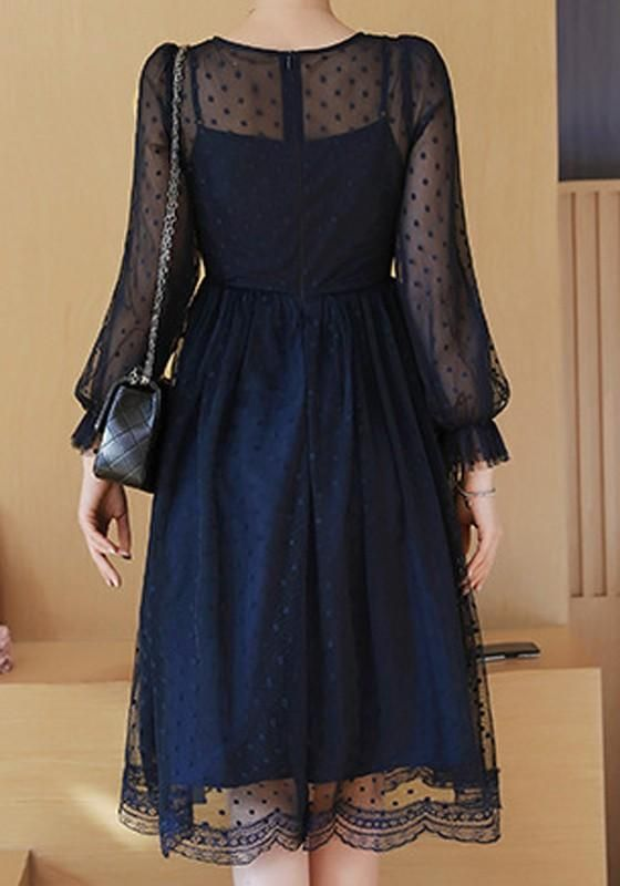 94534399feec Navy Blue Polka Dot Lace Round Neck Long Sleeve Elegant Midi Dress ...
