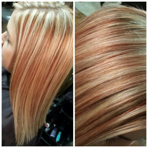 blonde highlights with strawberry