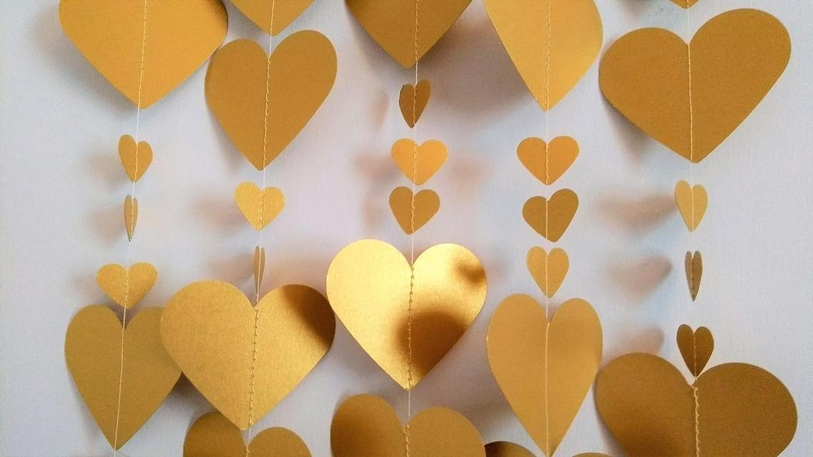 Goldenes Herz Girlande 8ft Valentinstag Dekor Gold