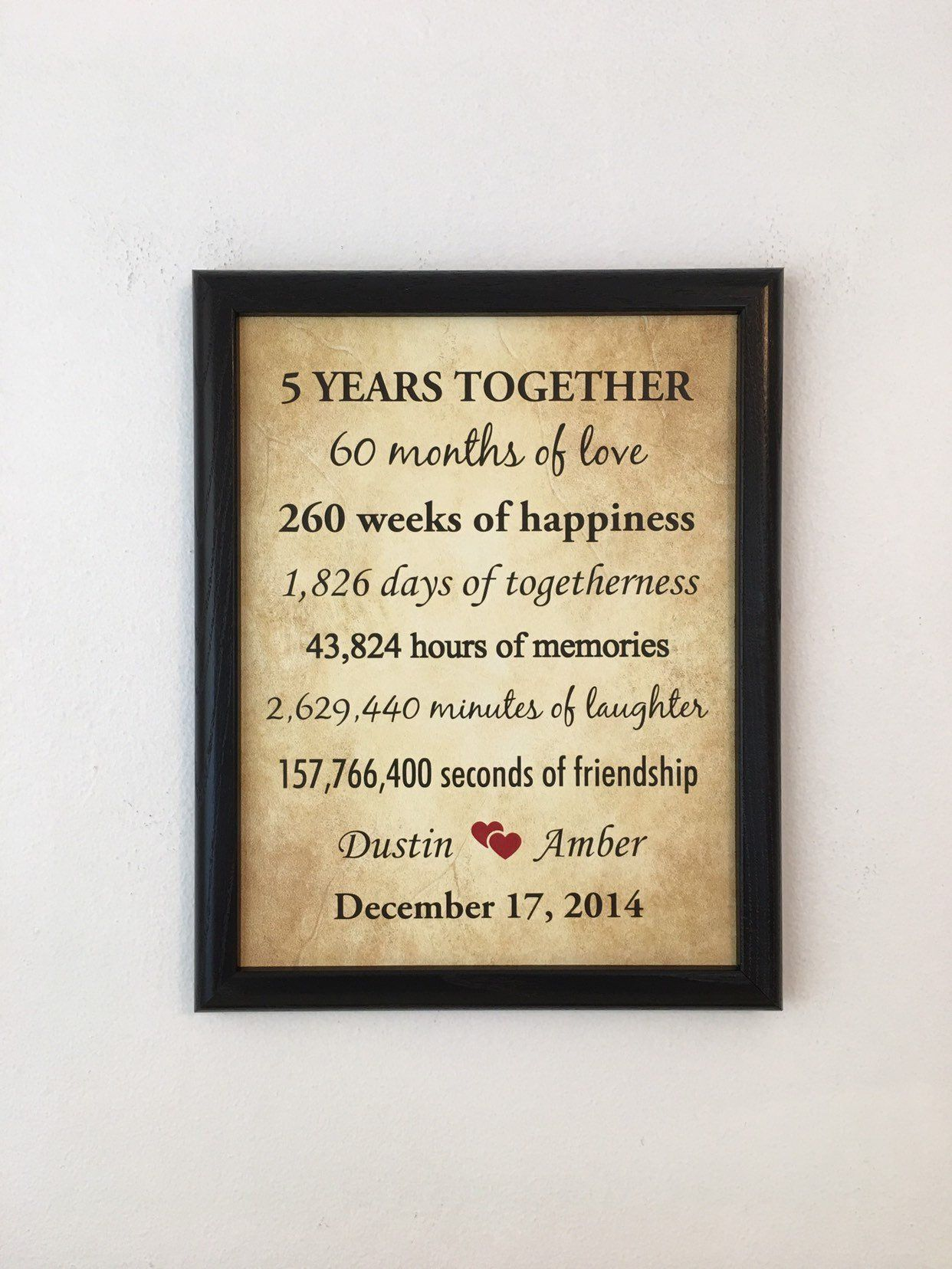 5 Year Anniversary Gift, For Girlfriend, 5 Year Together