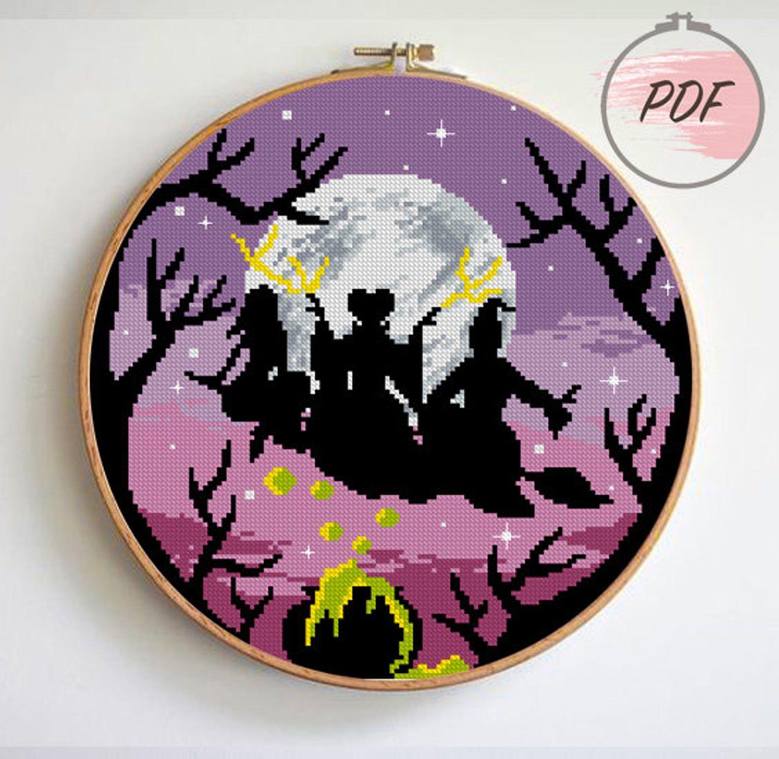 Photo of Witches cross stitch pattern modern counted cross stitch pattern movie tv show moon landscape halloween cross stitch  (Digital Format – PDF)