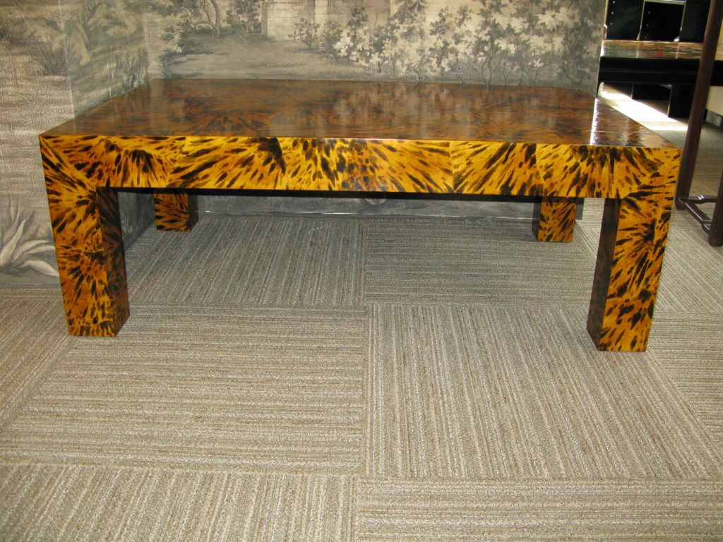 Handpainted Faux Tortoise Shell Parsons Table