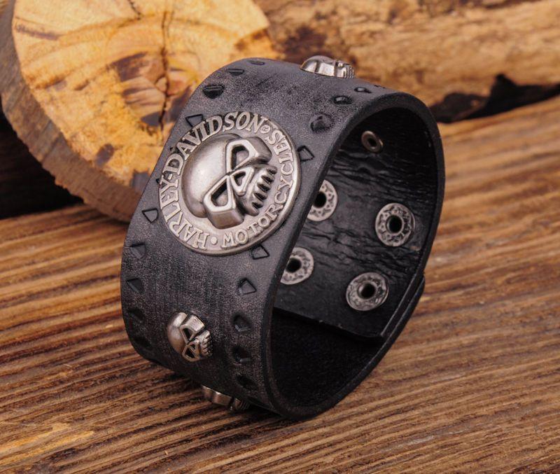 bracelet leather harley davidson skull bracelets. Black Bedroom Furniture Sets. Home Design Ideas