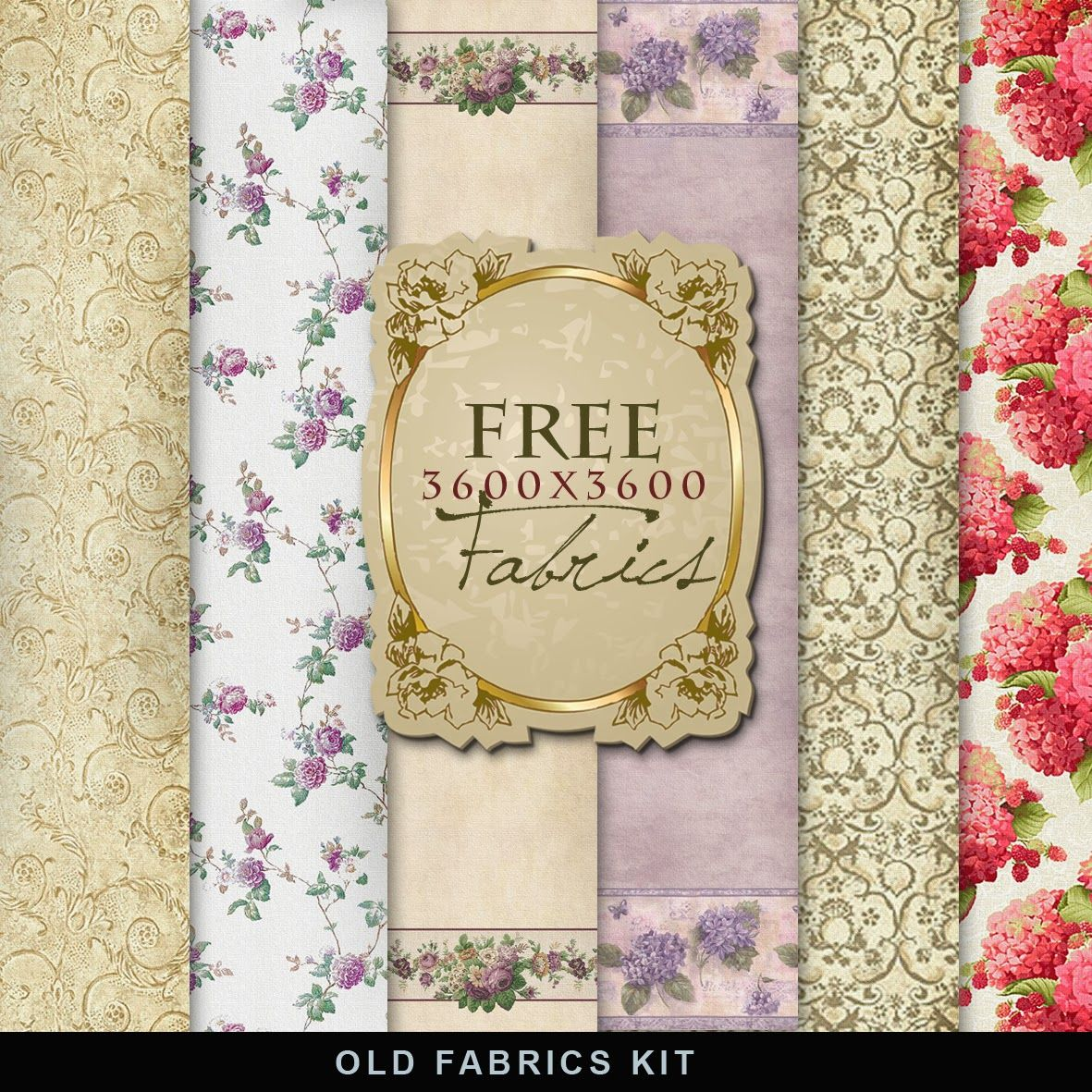 Far Far Hill - Free database of digital illustrations and papers: Freebies Old Style Fabrics Kit