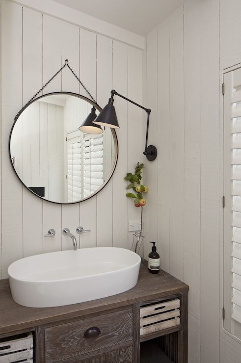Cottage Powder Room With Gray Washed Vanity Accented With Oil