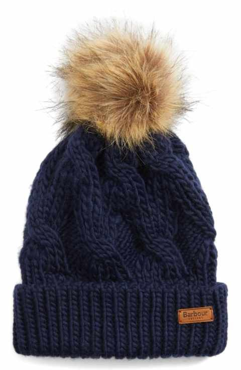 Barbour Ashridge Beanie with Faux Fur Pom  af36d30a91a5