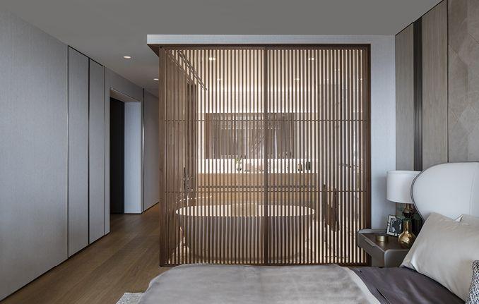 moderne schuifdeur als scheidingswand tussen badkamer en slaapkamer rimadesio sail