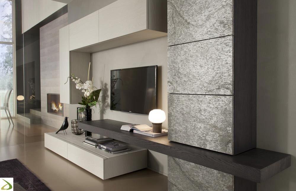 Parete soggiorno in pietra Tommy Arredo Design Online | Salone ...