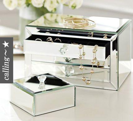 セレブ愛用 pottery barn selina mirrored jewelry box ミラー張り