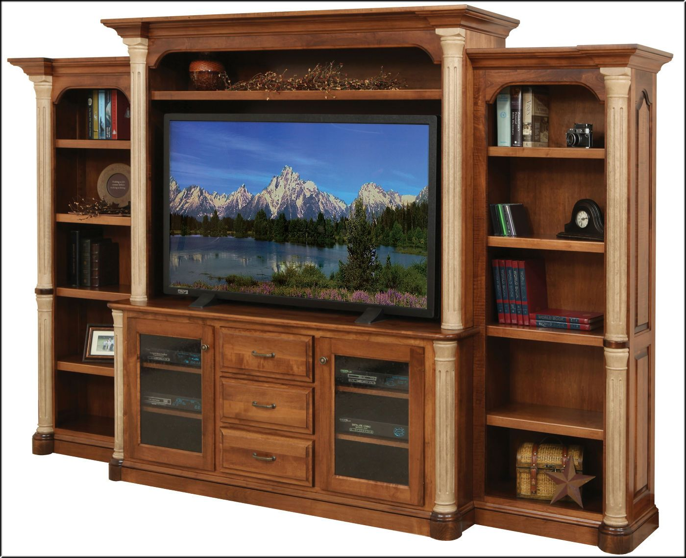 Watch your favorite documentary! Jefferson Entertainment with side Bookcases. Available in a variety of solid woods u0026 stain colors. & Watch your favorite documentary! Jefferson Entertainment with side ...