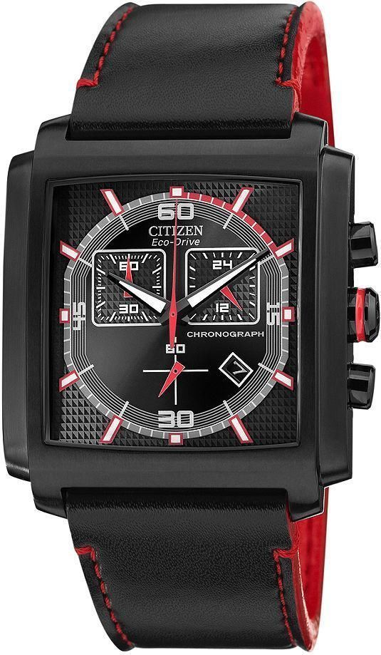 56623c0b8bd Citizen Eco Drive AT2215-07E Chronograph Black Leather Strap Analog Men s  Watch in Wristwatches