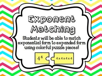 Exponent Matching Puzzle Activity Teaching Exponents Exponents Exponent Activities