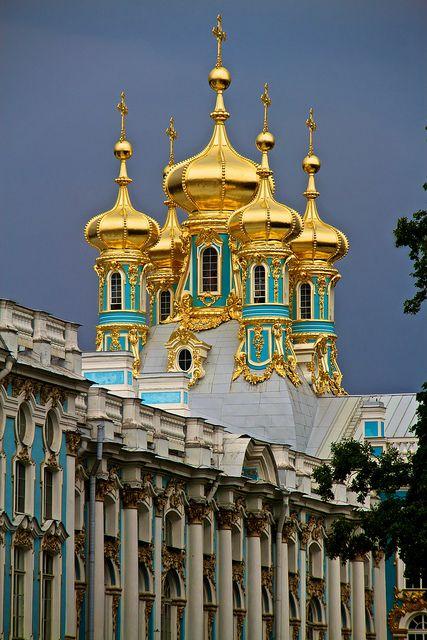 Pushikin Golden Towers Russian Architecture Petersburg St Petersburg