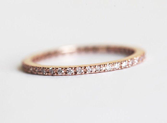 Eheringe rotgold  Eheringe Rotgold, dünne Rose Gold Band, Eternity Ring, 14k Rose ...