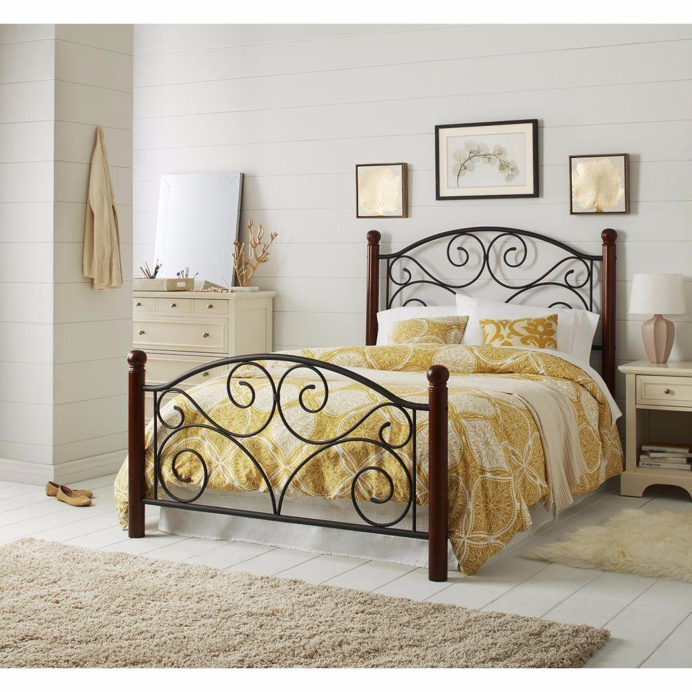Full Size Bed Frame Headboard Footboard Steel Frame Bedroom Decor