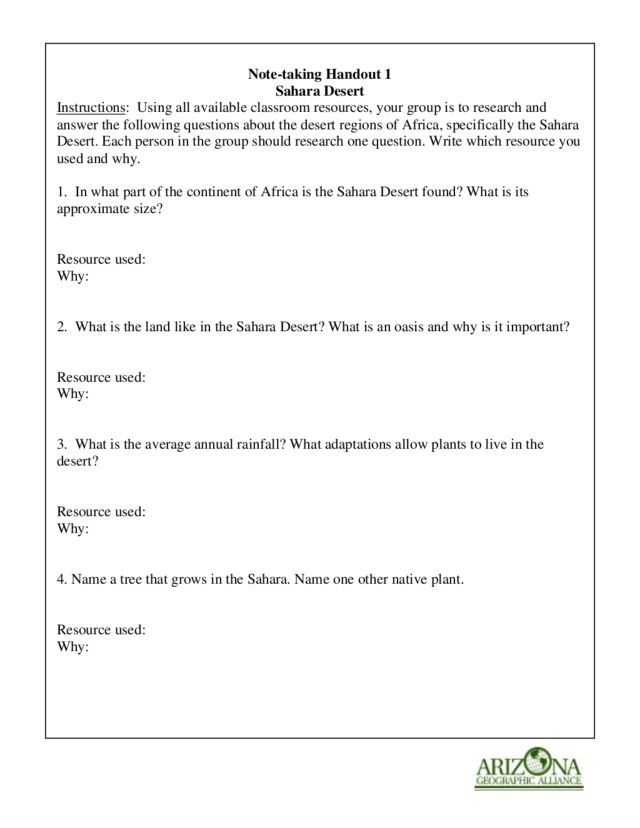 NoteTaking Handout 1 Sahara Desert 7th 9th Grade Worksheet – Note Taking Worksheets