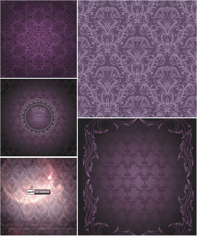 wedding card backgrounds vectors%0A Set of   vector purple damask patterns with floral decorative ornaments for  your wedding invitations  vintage cards and designs