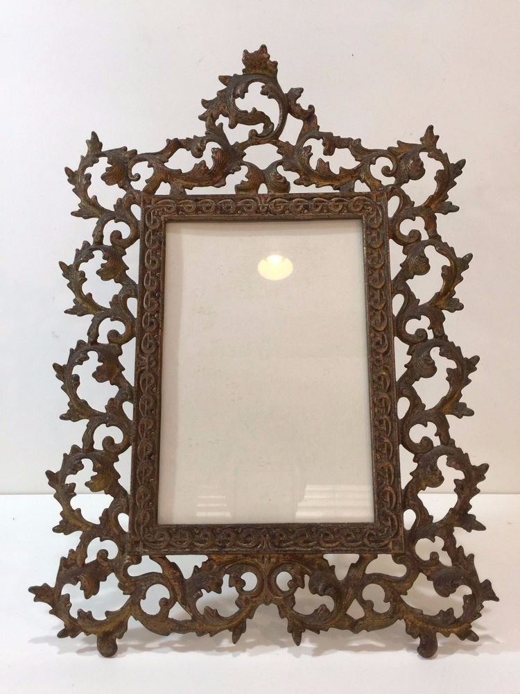 Antique Victorian Gilt Bronze Large Photo Frame, 6\