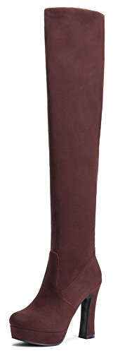 Summerwhisper Womens Sexy Elastic Fuax Suede Round Toe Chunky High Heel Platform Slip on Over the Knee Riding Boots Brown 55 BM US *** Click image to review more details.(This is an Amazon affiliate link and I receive a commission for the sales) #WomensOverTheKneeBoots