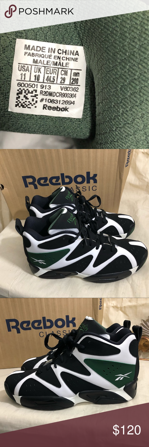 promo code 27f48 0b3f4 REEBOK KAMIKAZE I MID SEATTLE SUPERSONICS Pre owned Men's Reebok Kamikaze I MID  Seattle SuperSonics colors in like new condition and in original box size  11 ...