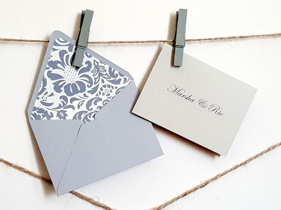 Mini Personalized Gift Cards With Lined Envelopes Grey Damsk Etsy Personalized Gift Cards Custom Gift Cards Gift Card