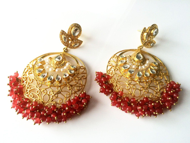 Ruby kundan earringsgold filigree Chandelier EarringsIndian