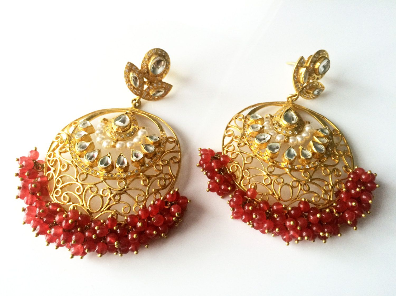 Ruby kundan earringsgold filigree chandelier earringsindian ruby kundan earringsgold filigree chandelier earringsindian jewellery large handmade earrings mughal aloadofball Choice Image