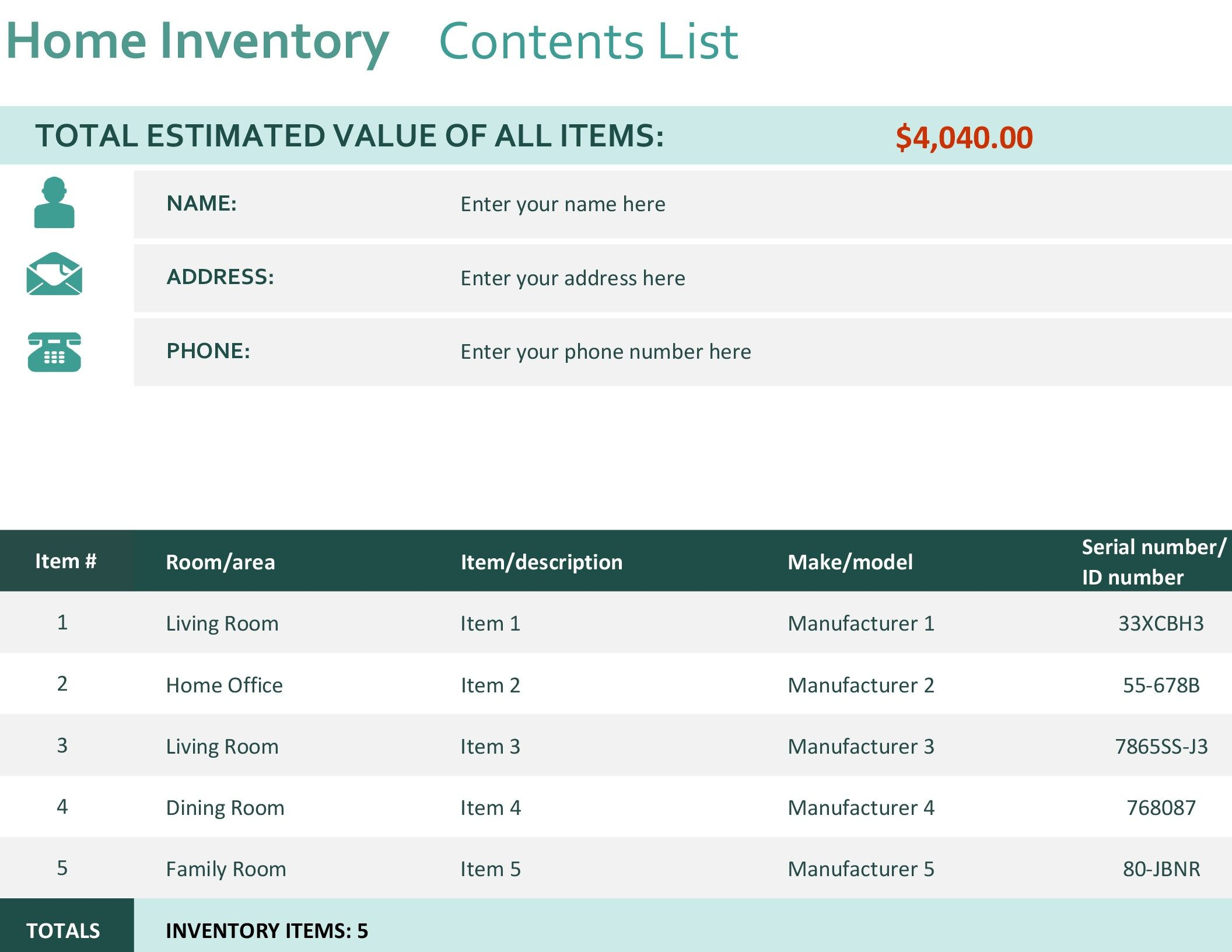 Home inventory   Home inventory, List template, Templates