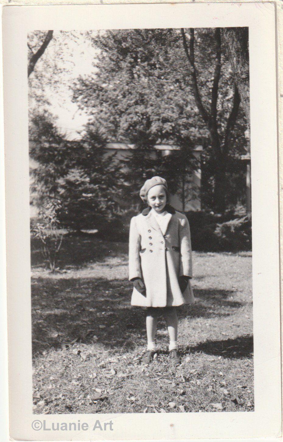 Pretty Girl In Coat Bobbie Socks And Beret Hat Amature Photo