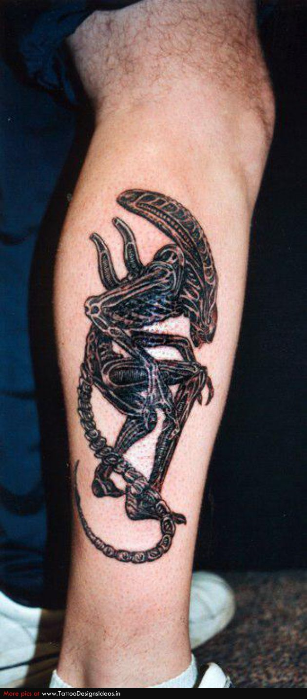 Ink tattoos designs - Small Alien Tattoo On Leg Cool Tattoos Continues
