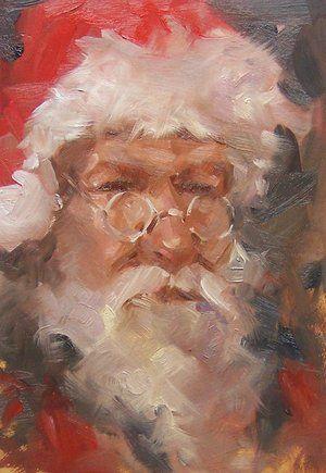 I don't know this artist, but what a beautiful interpretation of Santa!