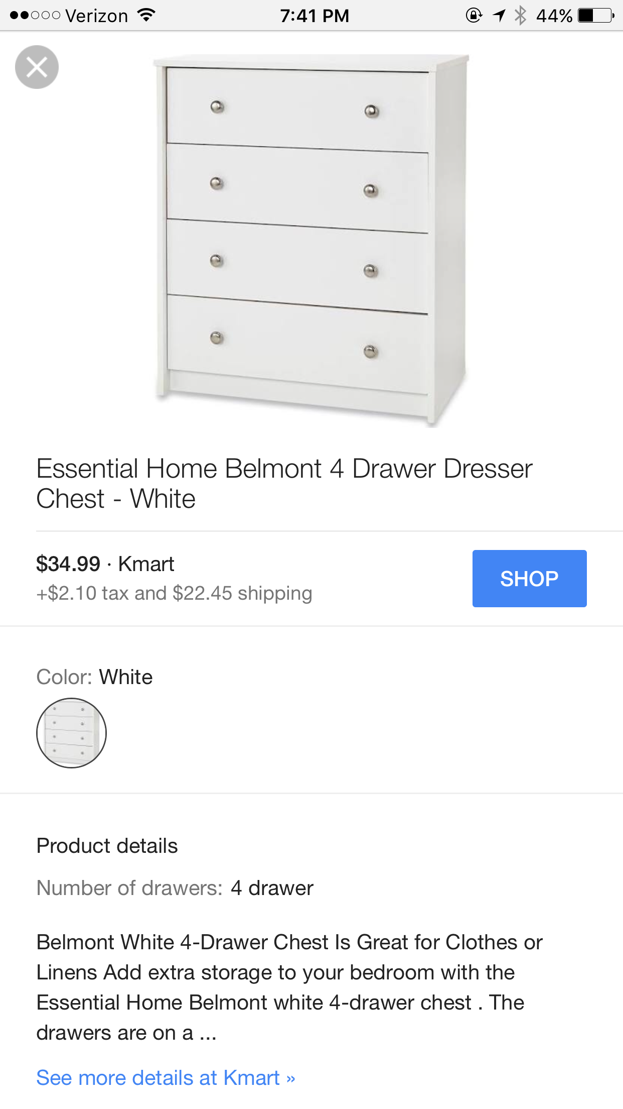 50 Kmart 4 Drawer Dresser