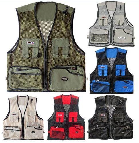 Mens Outdoor Multi-Pocket Vest Travelers Fly Fishing Quick-Dry Jacket Outwear